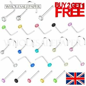 NOSE STUDS STRAIGHT I L SCREW SHAPE SILVER GOLD SET PIN SURGICAL STEEL PIERCINGS