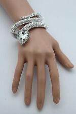 Women Silver Metal Cuff Bracelet Fashion Jewelry Wrap Around Snake Rhinestones
