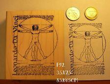 P92  Leonardo da Vinci Vitruvian man rubber stamp NEW