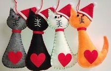 Set di 4 Gatto Babbo Natale in feltro albero decorazioni Ginger Grigio Bianco Nero Nuovo