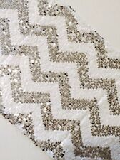 2.75m*28cm Chevron Sparkly Silver and White Sequin Table Runner for Wedding