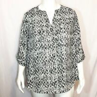 Sharagano Woman Plus Size 3X Black and White Roll Tab Long Sleeve Blouse Top