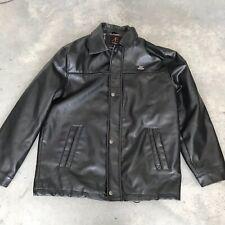 AE Di Milano Vegan Black Leather Mens Coat Jacket PVC Emporio Collezione W SZ XL