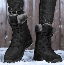 Men's Winter Snow Boots Waterproof Plush Warm Shoes Outdoor Lace Up Flat Boots