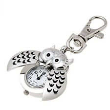 New Fashion Mini Metal Key Ring owl double open Quartz Watch Silver POP
