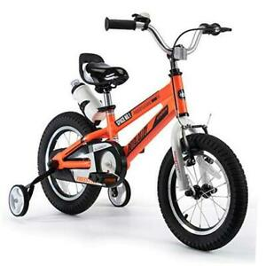 Kids Bike Boys Girls Space No. 1 Aluminum Orange 12 Inch With Training Wheels