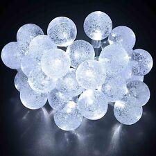 Cadena De Luces solares del jardín Hadas 20ft 2 modos 30 Blanco LED Cristal Bola de globo