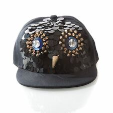 GewGaw Noir Snap-Back Flatbill Cap avec Rivets Design Chouette