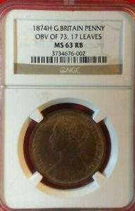 GREAT BRITAIN VICTORIA 1874-H OBV of 73, 17 Leaves  PENNY COIN, NGC MS63-RB