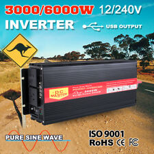3000W Watt Power Inverter Max 6000W Pure Sine Wave 12V -240V CAR CARAVAN CAMPING