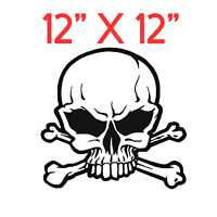 "12"" X 12"" SKULL & CROOSSBONES  DECAL Car Window Bumper Vinyl Decal Sticker"