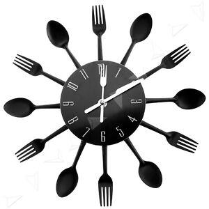Ingenious Cutlery Style Kitchen Utensil Wall Clock Spoon Fork Clock Black