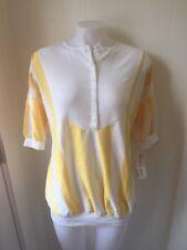 Women's Land N Sea Brand Maternity Pregnancy Yellow Stripe Button Down T Shirt