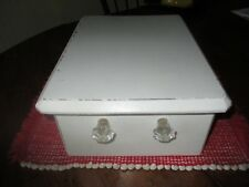 Antique wood drawer with glass knobs. Shabby creamy white.Storage