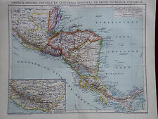 Landkarte Centralamerika, Guatemala, Honduras, Nicaragua, Brockhaus 1904