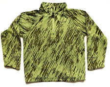 "NIKE Boy's Gray/Neon Green Print Reflective ""RUNNING"" 1/4 Zip Jacket Size 6"