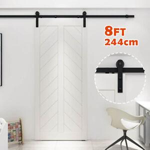 8FT/244cm Sliding Wood Barn Door Track System Kit Hardware Set Stainless Steel