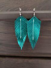 Handmade GENUINE Leather Feather Earrings Metallic Teal