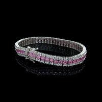 8.00 TCW Princess Pink Sapphire & Diamond Tennis Bracelet 925 Sterling Silver