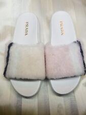 Prada NEW $570 Shearling Fur Platform Slide Sandal White/Black/Pink 36.5