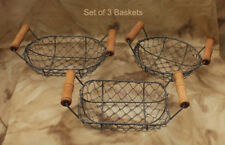 Set of 3 Small Wire Baskets - Round, Rectangle, and Oval