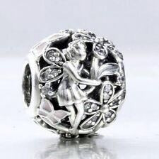 CRYSTAL DAISY w FAIRY & BUTTERFLIES .925 Sterling Silver European Charm Bead