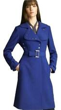 NWOT Elie TAHARI Georgia cobalt blue fitted belted coat trench snap front 10 M