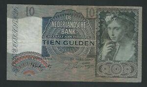 NETHERLANDS  RARE 10 GULDEN   1942   F+++/ VF
