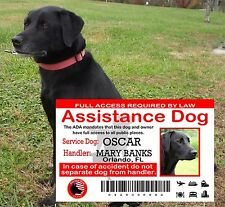 Service Dog ID Card, ADA ID Card, Assistance Service Dog, Wallet Plastic Card