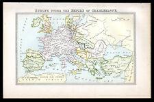 Europa bajo el imperio de Charlemagne 1883 mapa Victoriano