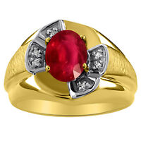 Mens Ruby & Diamond Ring Sterling Silver or Yellow Gold Plated  Band
