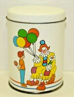 Vintage Clown Colorful White Lidded Candy Tin Round Balloons Circus Decorative