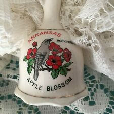 "Vintage Arkansas Bell Mockingbird, Apple Blossom 3.75"" T Ceramic, Lipco Taiwan"