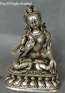 "7"" Tibet Old Silver Buddhism White Tara Mahayana enlightenment Goddess Statue"