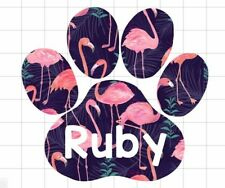 Paw Print Custom Dog Name in Flamingo Print Decal/Sticker for car/window/truck