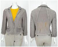 Womens Elisa Cavaletti Knit Blazer Jacket Grey Cotton Blend Cardigan Size L