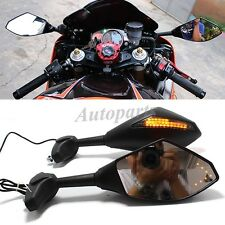 FRONT & BACK LED TURN SIGNAL INTEGRATED INDICATOR SPORT BIKE MIRRORS For SUZUKI