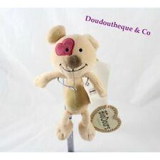 Peluche ours BioDours beige cocard en cœur doudou bio 25 cm (MO5045)