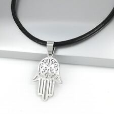 Silver Khamsa Hamsa Hand Stainless Steel Pendant Black Leather Necklace