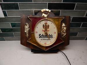 VINTAGE SCHMIDT'S OF PHILADELPHIA LIGHT UP BAR SIGN / CLOCK 1950'S-1960'S CIRCA.