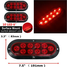 "2x 10 LED 6"" Red Oval Car Truck Trailer RV Brake Stop Turn Signal Tail Light 12V"