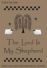 Primitive Willow Stencil Lord My Shepherd Folk Art Tree Sheep Check Border Signs
