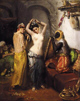Oil painting young naked Arab girl in her toilet before a mirror canvas