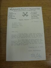 03/01/1954 New Bradwell St Peters Supports Club: Official Letter from Secretary