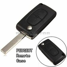 2 Buttons Remote Flip Key Shell Case Fob For PEUGEOT 207 307 308 & Uncut Blade