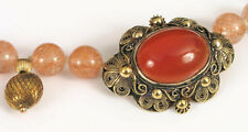 ANTIQUE CHINESE SILVER CARNELIAN PENDANT RUTILATED QUARTZ & 14K GOLD NECKLACE !!