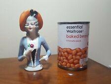 Large  porcelain head pin doll half doll  13 cms German