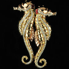 Coro Gold Pave and Invisibly Set Rubies Giant Pair of Seahorses Pin Clip Duette