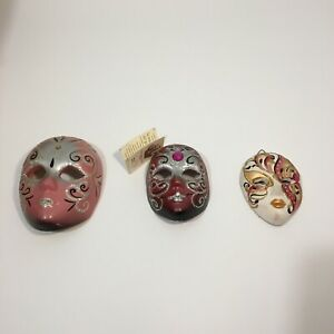 3 x Official Italian/Venice Pink Glitter Ceramic Masquerade Mask Wall Hanging
