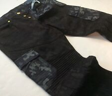 True Religion Men Military Army Camo Moto Biker Rider Cargo Jeans Relaxed Skinny